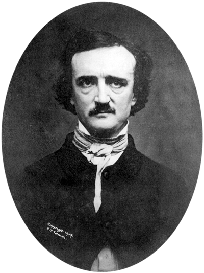 Picture of Edgar Allan Poe. This image (or other media file) is in the public domain because its copyright has expired. This applies to Australia, the European Union and those countries with a copyright term of life of the author plus 70 years.