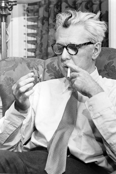 Picture of James Thurber. This photograph is a work for hire created prior to 1968 by a staff photographer at New York World-Telegram & Sun. It is part of a collection donated to the Library of Congress. Per the deed of gift, New York World-Telegram & Sun dedicated to the public all rights it held for the photographs in this collection upon its donation to the Library. Thus, there are no known restrictions on the usage of this photograph.