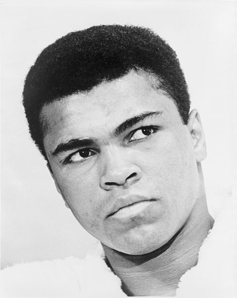 Picture of Muhammad Ali. This photograph is a work for hire created prior to 1968 by a staff photographer at New York World-Telegram & Sun. It is part of a collection donated to the Library of Congress. Per the deed of gift, New York World-Telegram & Sun dedicated to the public all rights it held for the photographs in this collection upon its donation to the Library.