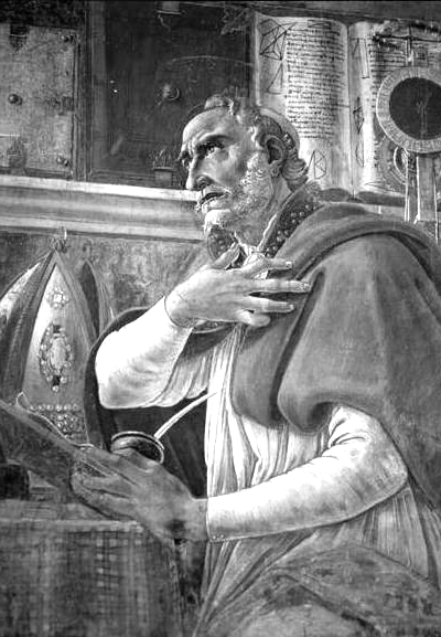 Picture of Augustine of Hippo. The work of art depicted in this image and the reproduction thereof are in the public domain worldwide. The reproduction is part of a collection of reproductions compiled by The Yorck Project. The compilation copyright is held by Zenodot Verlagsgesellschaft mbH and licensed under the GNU Free Documentation License.