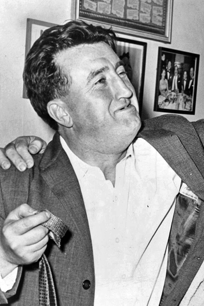 Picture of Brendan Behan. Brendan Behan in Jackie Gleason's dressing room at show 'Take me along', World-Telegram photo by Walter Albertin.