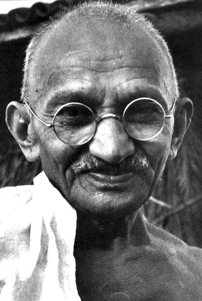 Picture of Mohandas K. Gandhi. Mohandas K. Gandhi, date and location unknown.